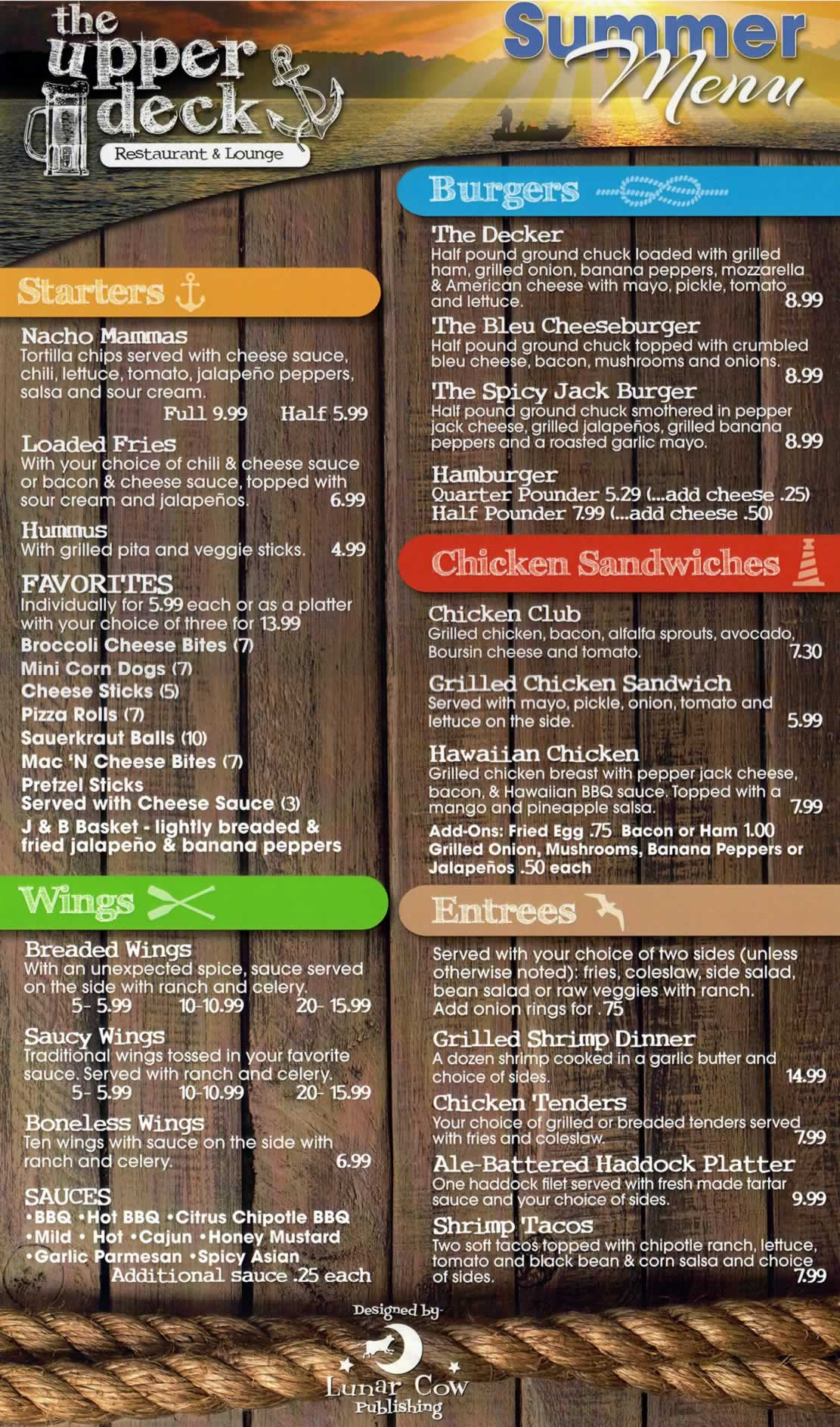 Upper Deck Menu - Effective July 2017