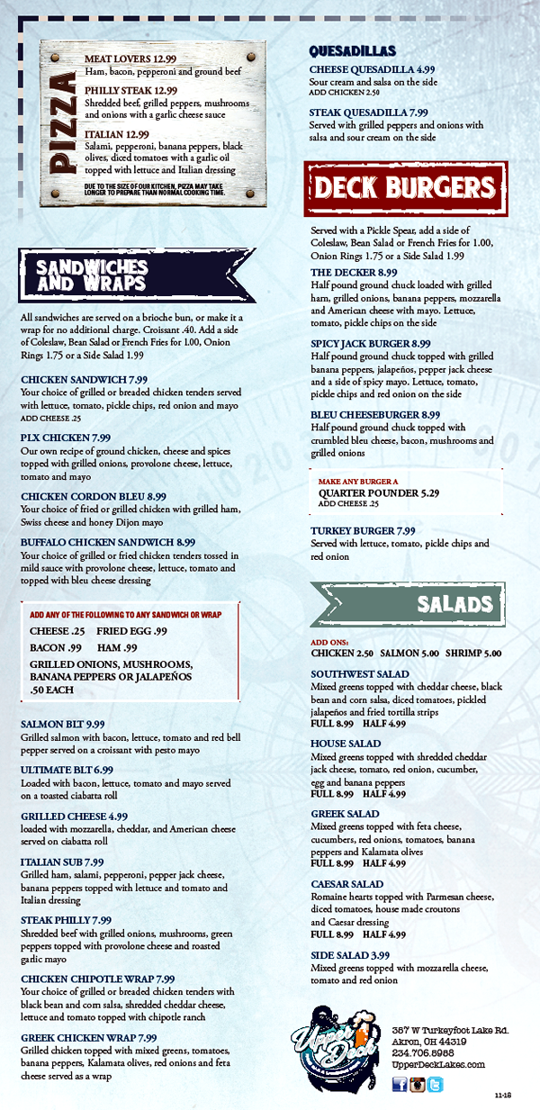 Upper Deck Winter 2018 Menu