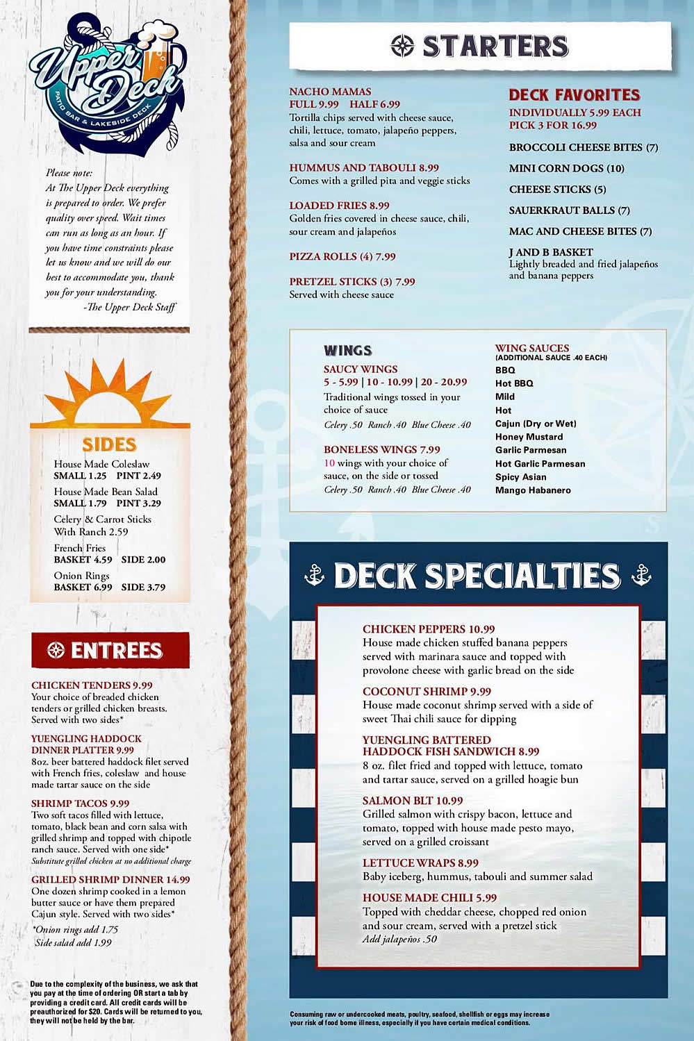 Upper Deck Portage Lakes - 2019 Summer Menu